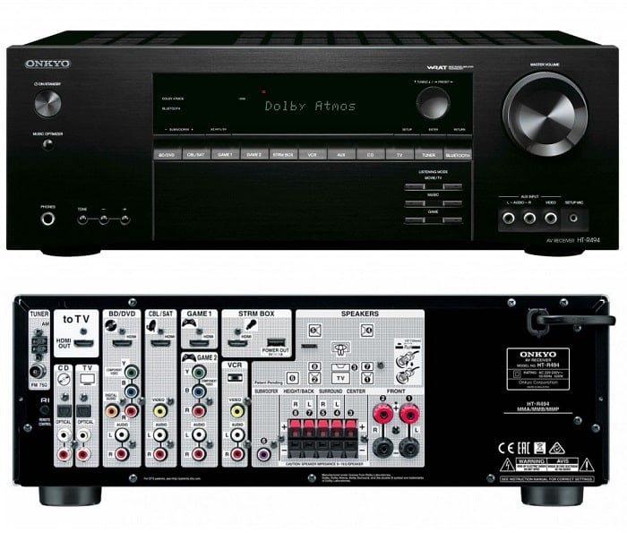 Onkyo HT-494 Receiver Front and Back